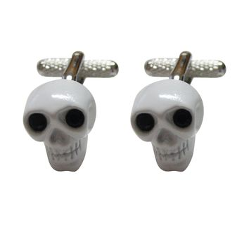 White Skull with Black Eyes Cufflinks