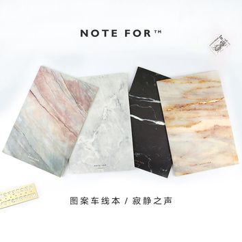 Japanese Cute Stationery NOTE FOR SILENCE Marble Designs Soft Cover A5 Notebook Lines Composition Diary Stiching Binding