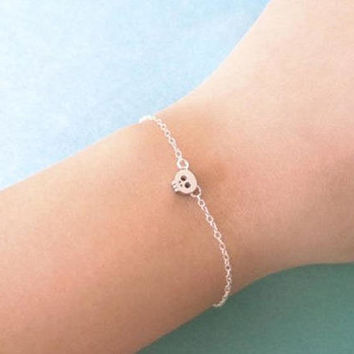 Tiny, Cute, Skull, Gold filled, Sterling Silver, Chain, Bracelet, Modern, Minimal, Skeleton, Birthday, Friendship, Halloween, Gift, Jewelry