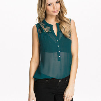 Dark Green Sleeveless Buttons Down Chiffon Blouse with Lace Detail