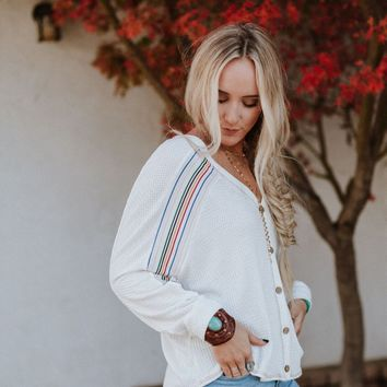 Clover V Neck Stripe Detail Thermal - Ivory