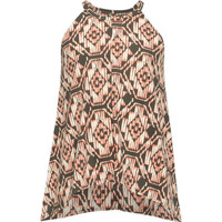 Full Tilt Medallion Print Girls Hi Neck Top Coral Combo  In Sizes