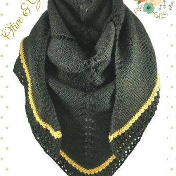 Olive Gold Triangle Shawl Lace Womens Handknit Berroco Vintage Wool Blend