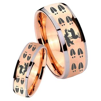 His Hers Rose Gold Dome Deer Hunting Tracks Two Tone Tungsten Wedding Rings Set