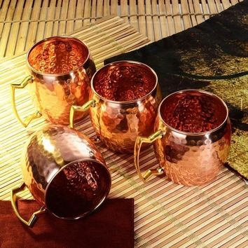 Newcomdigi Set of 4 Solid Handmade Hammered Moscow Mule Mug Copper-plated Brass Handle Cup Bar Accessories