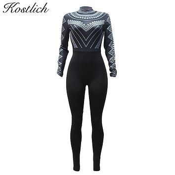 Kostlich 2017 Jumpsuit Women Turtleneck Long Sleeve Sexy Club Jumpsuits Fashion Printed Bodycon Rompers Womens Jumpsuit 5 Colors