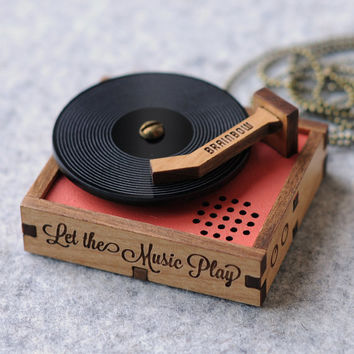 Wooden Record Player Necklace / Brooch