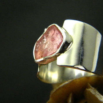 Wide ruby ring sterling silver, statement ring , wide band, rough ruby stone pink cocktail ring size 7.5
