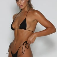 Amalia Tie Up Bikini Top - Black
