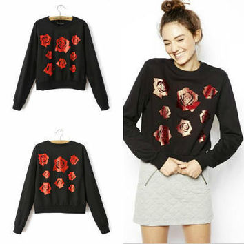 Rose Print Long Sleeve Pullovers Sweater