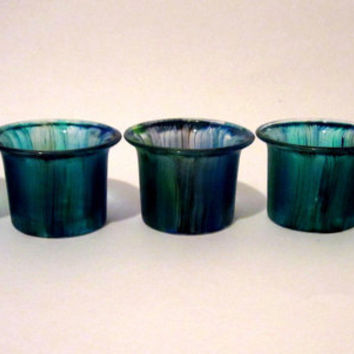 Votive Candle Holders Small Hand Painted Blue Sea Glass