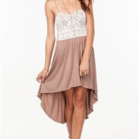 A'GACI Crochet Waist Hi Lo Jersey Dress - DRESSES