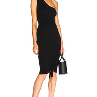 T by Alexander Wang Ruched One Shoulder Dress in Black | FWRD