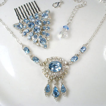 1920s Art Deco Light Sapphire Blue & Clear Pave Rhinestone Necklace, Vintage Bridal Statement Bib Necklace ORA Designer Signed Dusty Blue