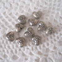 Silver Heart Beads Small Double Sided Jewelry Making Supply - Set of 10