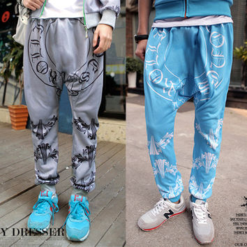 Harem Style Jogger Sweats with Geometric Print