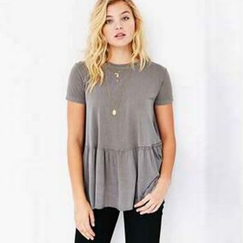 Loose Plain Pleated Large Size T-Shirt