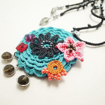 Irish Crochet Lace Jewelry (Lace Fantasia 8), Necklace, Fiber Jewelry