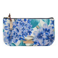 Handmade Floral Clutch Purse/ Spring Summer/ Makeup Cosmetics Purse/ Royal Blue/ Mother's Day/ Bridesmaid Gift/ Purse Organizer/ Pencil Case
