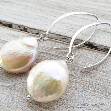 Freshwater pearl earrings, sterling silver 925 earrings, long drop earrings, dangle earrings, bridal earrings, bridesmaid jewelry, wedding