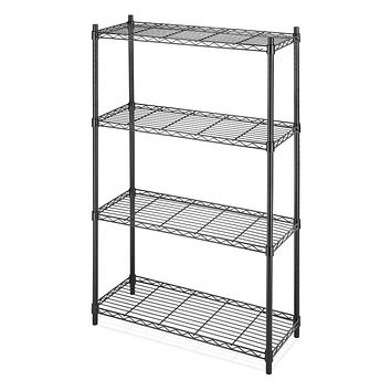 4-Shelf Black Metal Wire Shelving Unit - Each Shelf Holds up to 350 lbs.
