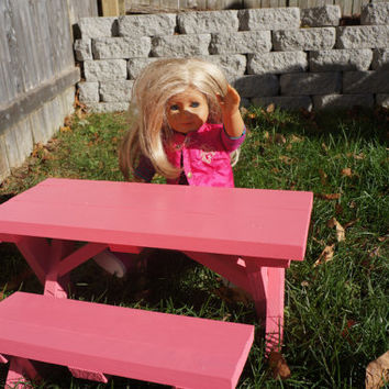 Doll Picnic Table for American Girl Doll or 18-inch Doll