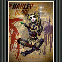 Harley Quinn - Batman print -  Vintage pop art  - Retro Super Hero Art - Dictionary print art
