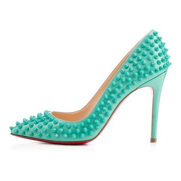 PIGALLE SPIKES PATENT,AQUAMAR,VERNIS,Louboutin,Souliers Femme