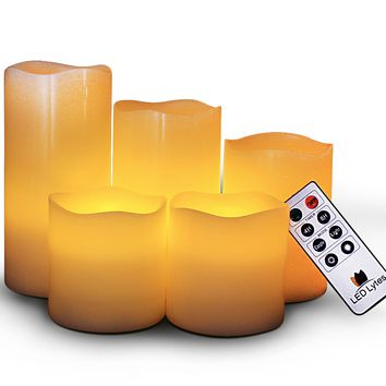 Flameless Wax Candles with Remote and Timer Set of 5