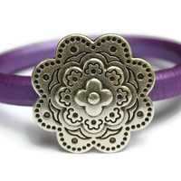 Flower Bracelet Flower Bangle Leather Flower Bracelet Plum Bangle Flower Jewelry Magnetic Flower Clasp Gift Ideas PepperPotLeatherShop PPP