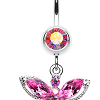 Dragonfly Glam Belly Button Ring
