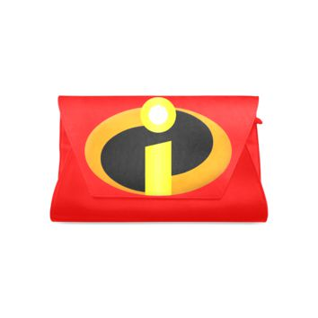 Leather Designer Clutch Bag with The Incredibles logo