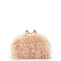 Nude/White BCBG Mila Cat Ear Ostrich Feather Knuckle-Duster Clutch