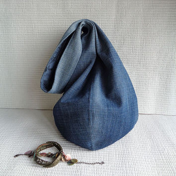 Tote bag hobo bag purse Casual style recycled upcycled denim