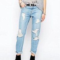 The Laundry Room Boyfriend Jeans in Mid Blue Wash at asos.com
