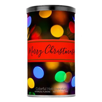 Multicolored Christmas lights. Add text or name. Powdered Drink Mix