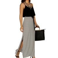 Sale-naughty And Nice Striped Maxi