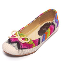 Rainbow Contrast Waves Weave Knit Flat Shoes