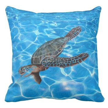 Under the Sea Turtle Ocean Lake Water Bright Bold Throw Pillow