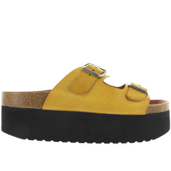 MTNG Indigo - Yellow Leather High Platform Footbed Slide Sandal