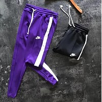 NIKE New Popular Women Men Casual Print Sport Stretch Pants Trousers Sweatpants Purple I13420-1