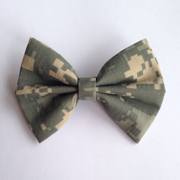 ACU Military Camouflage Fabric Hair Bow - Approximately 3.5 Inch Wide