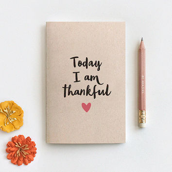 Gratitude Journal, Today I am Thankful Notebook & Pencil Set - Mini Large or Midori Insert Travelers Size