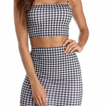Gingham Crop Top and Skirt Matching Set