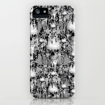 Victorian gothic lace skull pattern iPhone & iPod Case by Kristy Patterson Design