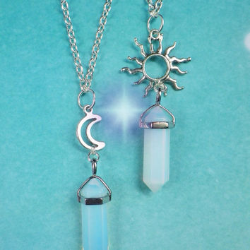 Opalite crystal moon or sun point necklace 22 inch chain