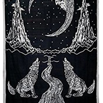 Decor India Crying Wolf To The Moon Tapestry Wall Hanging, Black and White