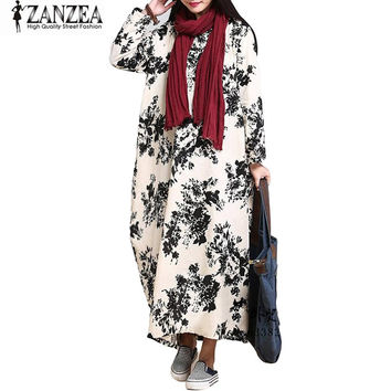 ZANZEA Retro Womens Long Sleeve Cotton Linen Dress Floral Print Loose Baggy O Neck Pockets Long Maxi Dress Pockets Tunic Kaftan