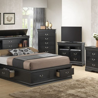 Louis Philippe Collection Storage Bookcase Bed - Black