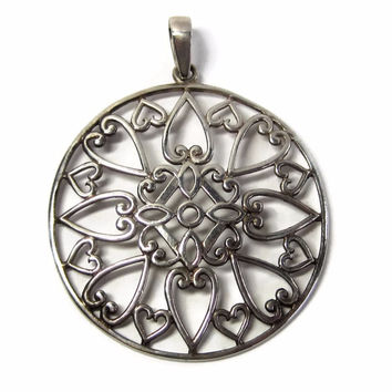 Vintage Filigree Sterling Heart Pendant Medallion